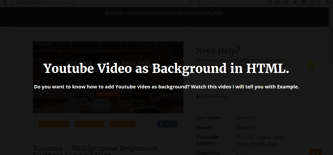 Youtube video as background in html